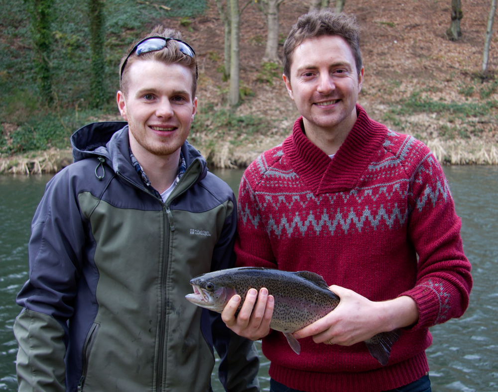 Graeme and Brad fishing for rainbow trout in Perthshire