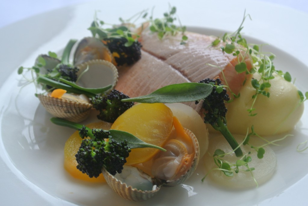 Sea Trout with cockles, beetroots, purple sprouting broccoli, sea herbs and baby watercress  & creamed jersey royals