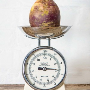 Turnip on a weighing scale